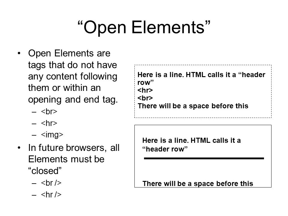 Open Elements Open Elements are tags that do not have any content following them or within an opening and end tag.