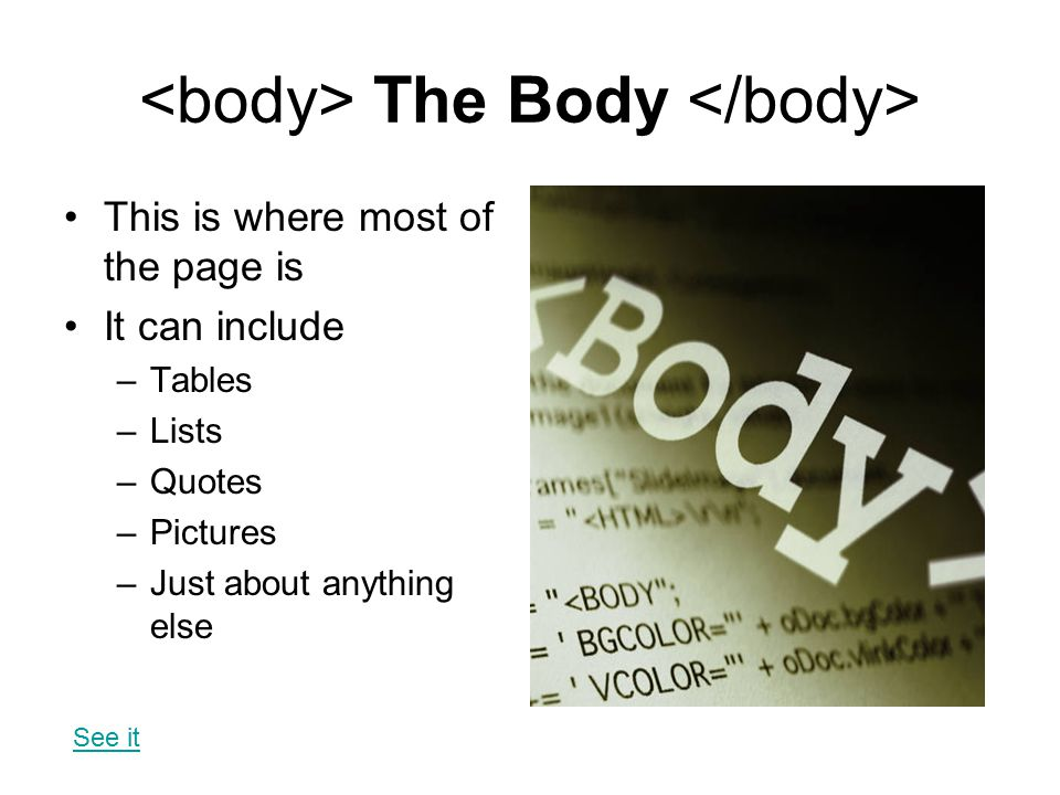 <body> The Body </body>