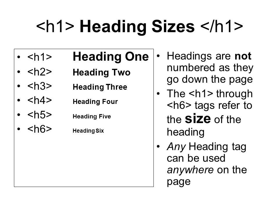 <h1> Heading Sizes </h1>