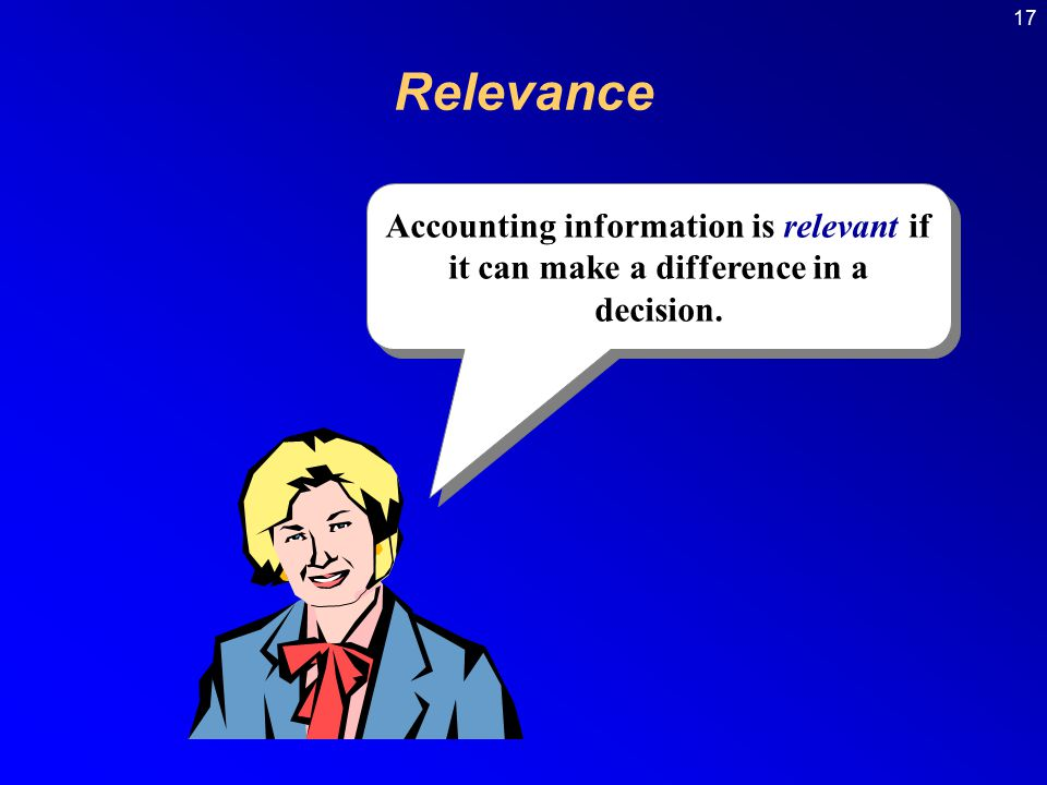 Relevance Accounting information is relevant if it can make a difference in a decision.