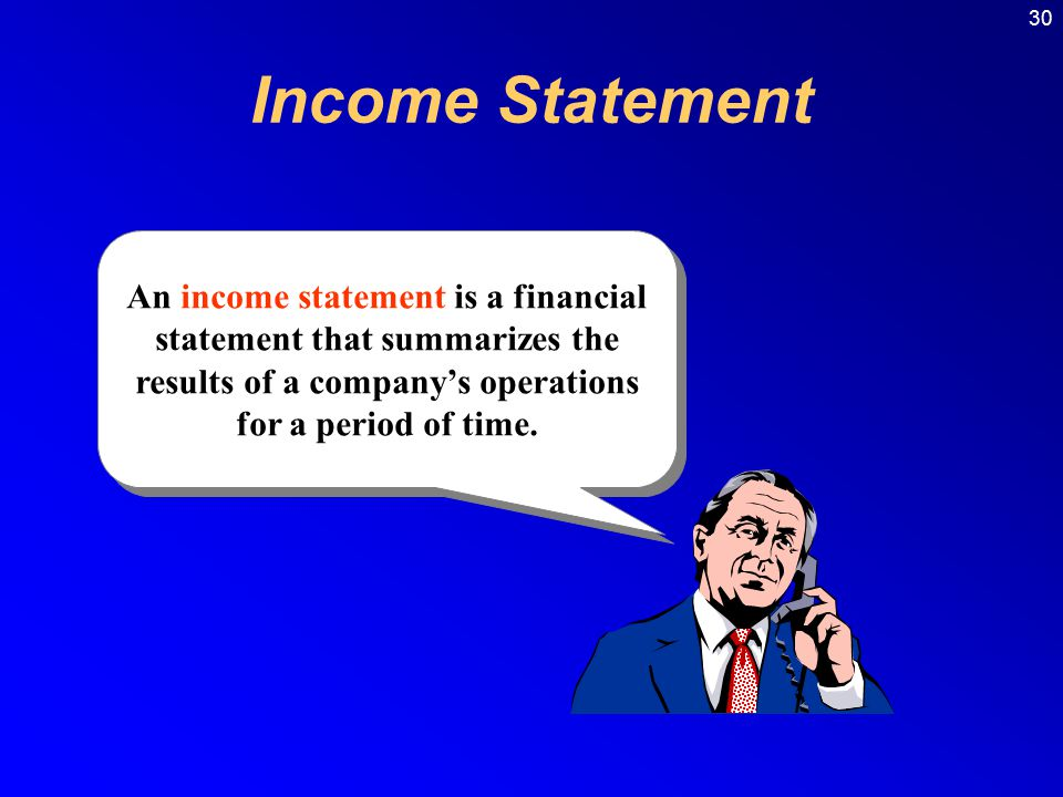 Income Statement An income statement is a financial statement that summarizes the results of a company's operations for a period of time.