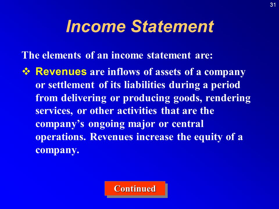 Income Statement The elements of an income statement are: