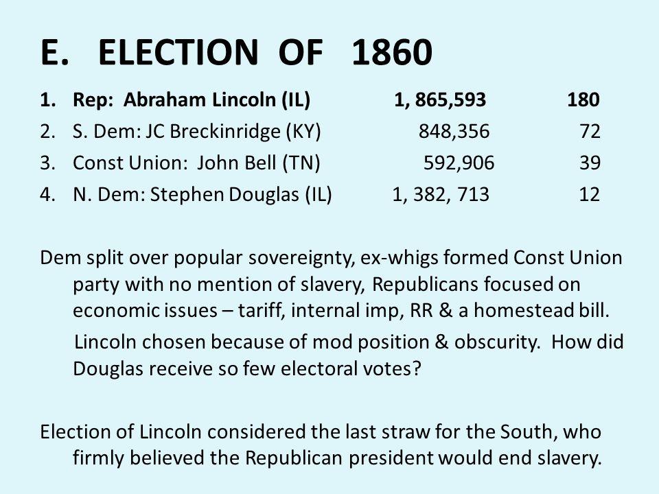 E. ELECTION OF 1860 Rep: Abraham Lincoln (IL) 1, 865,593 180