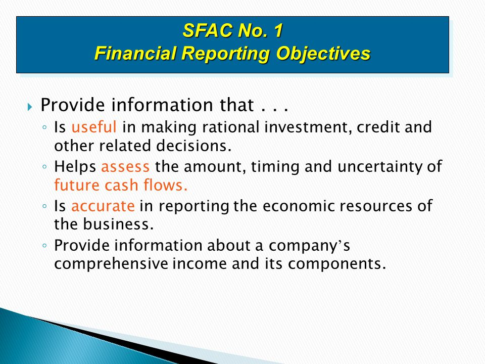 SFAC No. 1 Financial Reporting Objectives