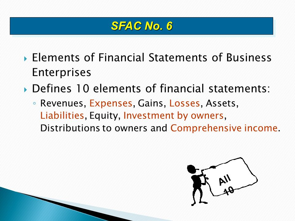 SFAC No. 6 Elements of Financial Statements of Business Enterprises