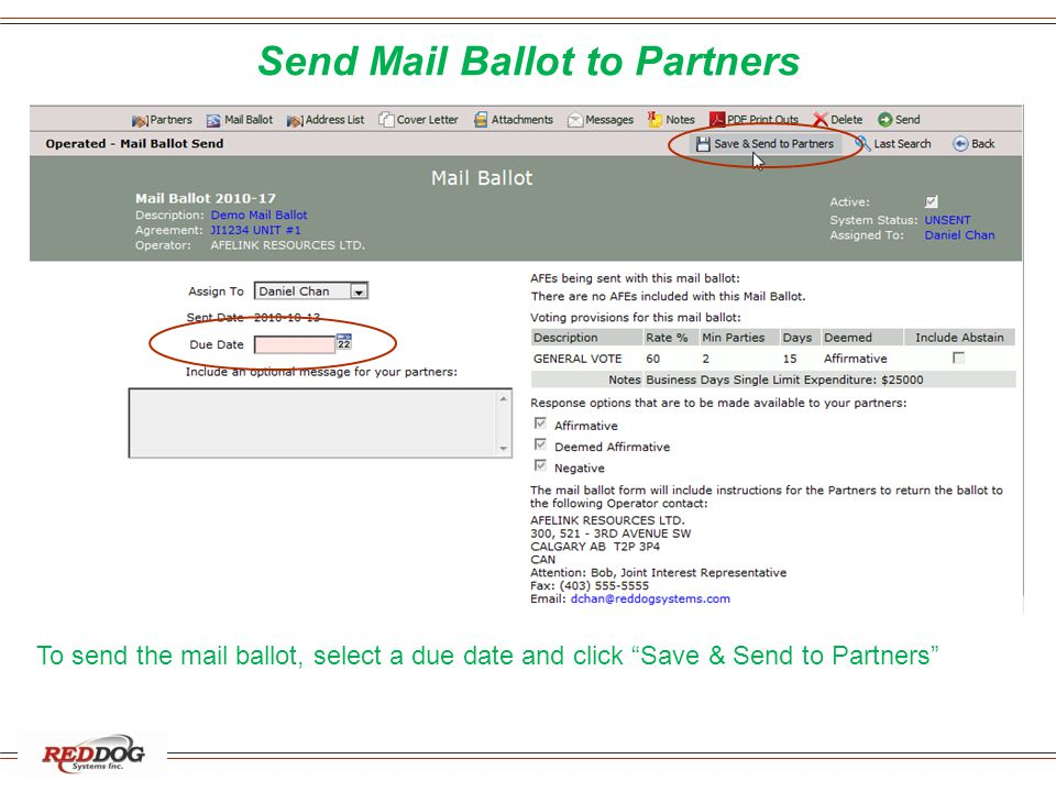 Send Mail Ballot to Partners