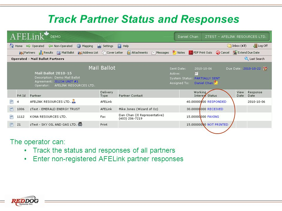 Track Partner Status and Responses