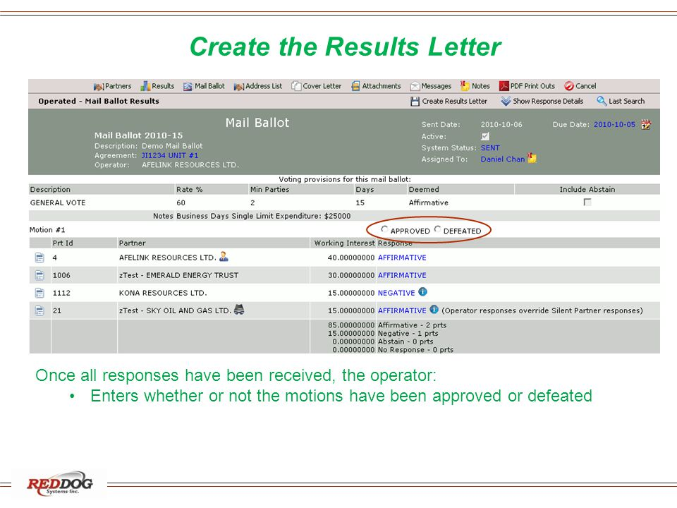 Create the Results Letter