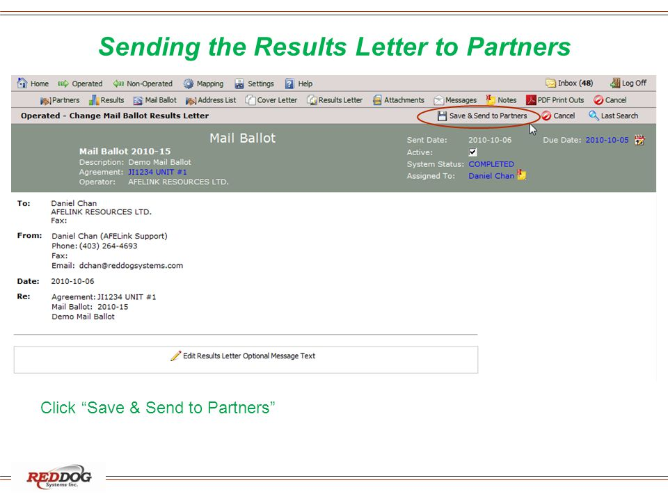 Sending the Results Letter to Partners