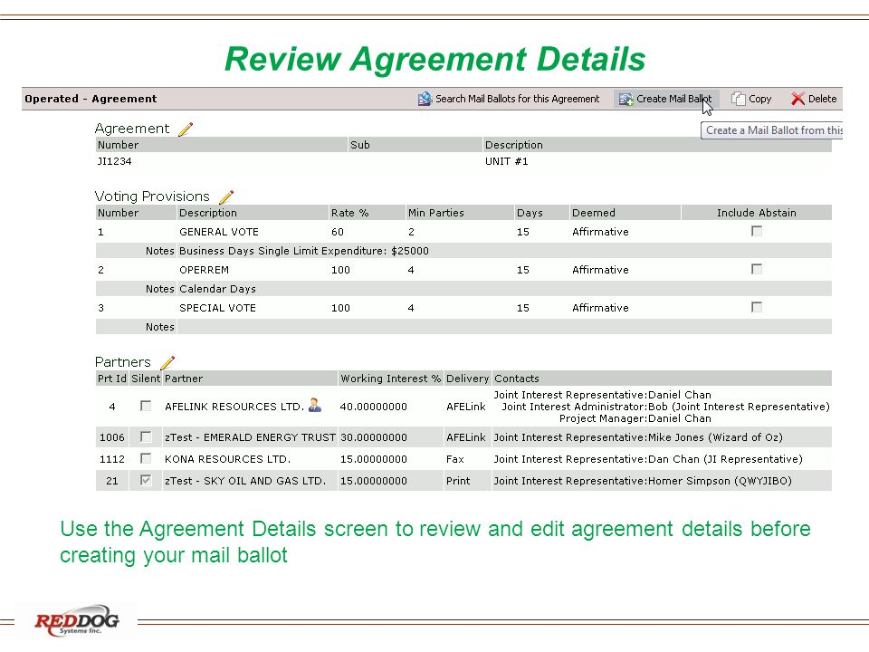 Review Agreement Details