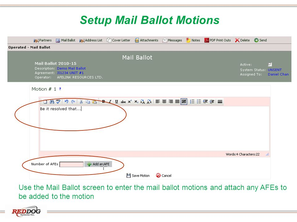 Setup Mail Ballot Motions