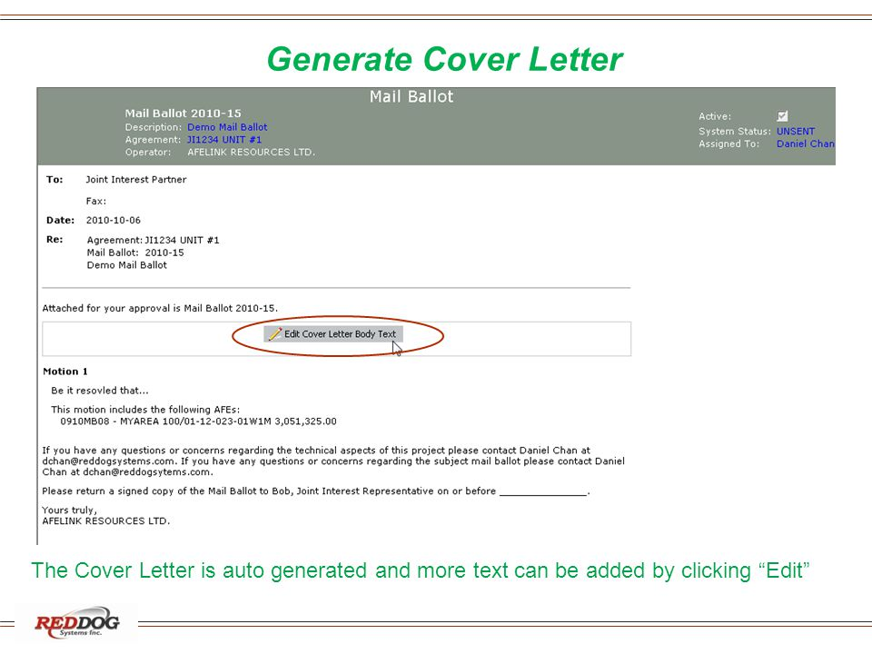 Generate Cover Letter The Cover Letter is auto generated and more text can be added by clicking Edit