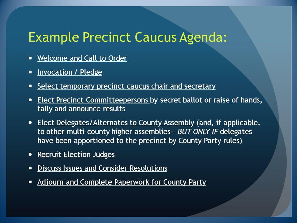 Example Precinct Caucus Agenda:
