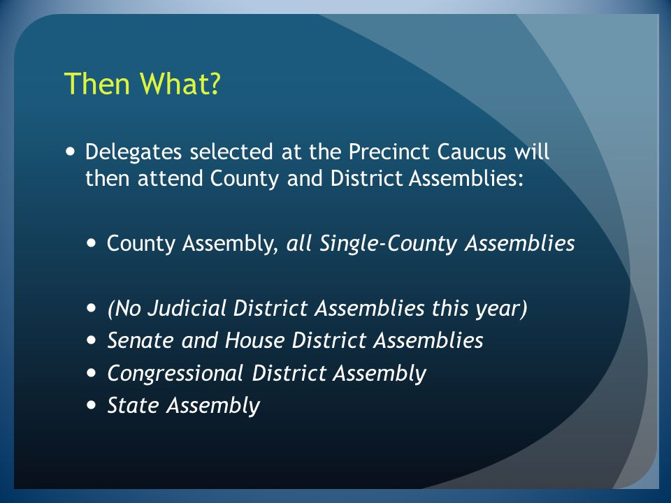 Then What Delegates selected at the Precinct Caucus will then attend County and District Assemblies: