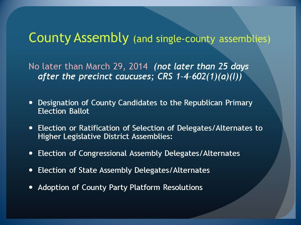 County Assembly (and single-county assemblies)
