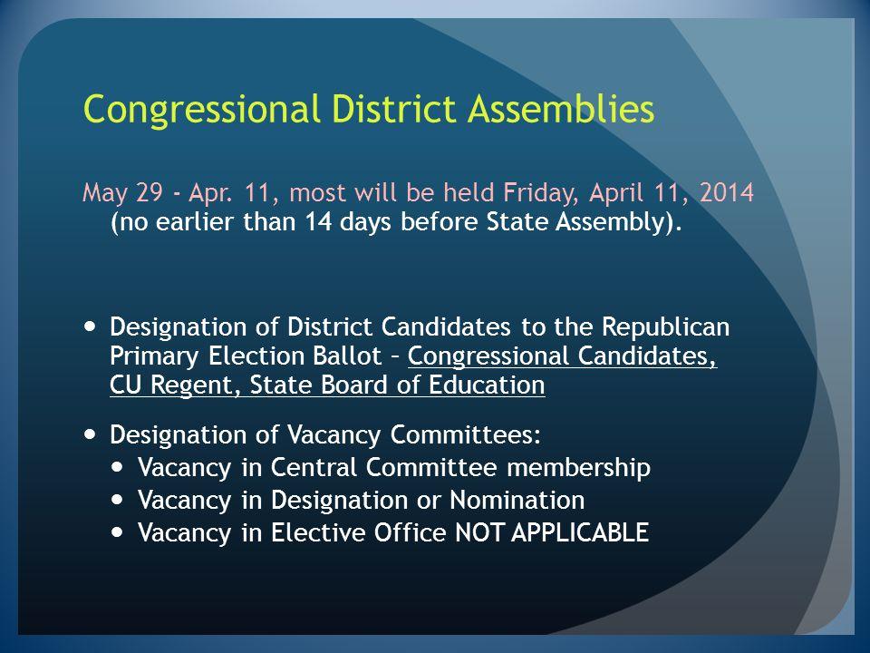 Congressional District Assemblies
