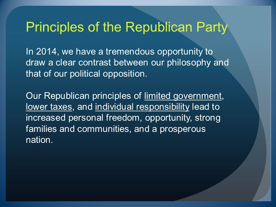 Principles of the Republican Party In 2014, we have a tremendous opportunity to draw a clear contrast between our philosophy and that of our political opposition.