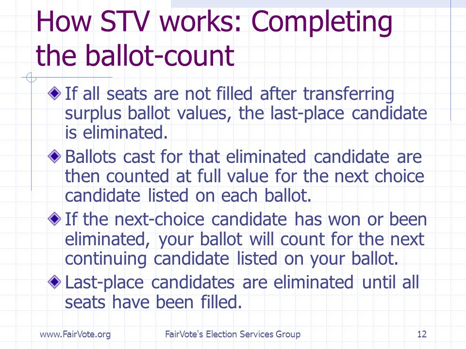 How STV works: Completing the ballot-count