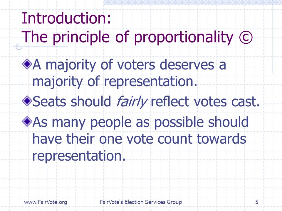 Introduction: The principle of proportionality ©