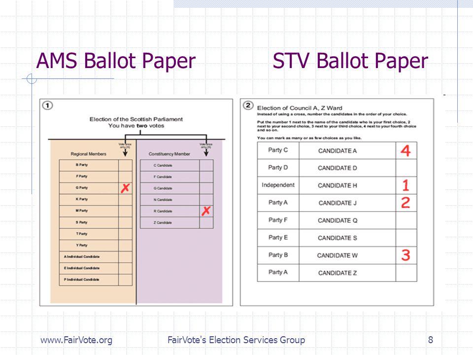 AMS Ballot Paper STV Ballot Paper