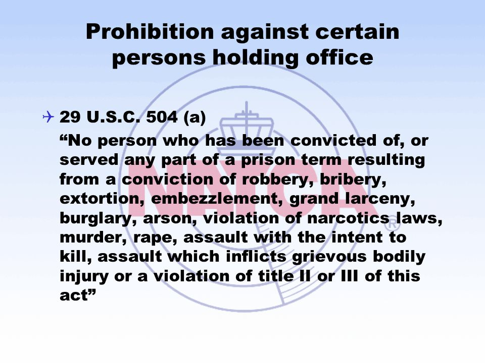 Prohibition against certain persons holding office