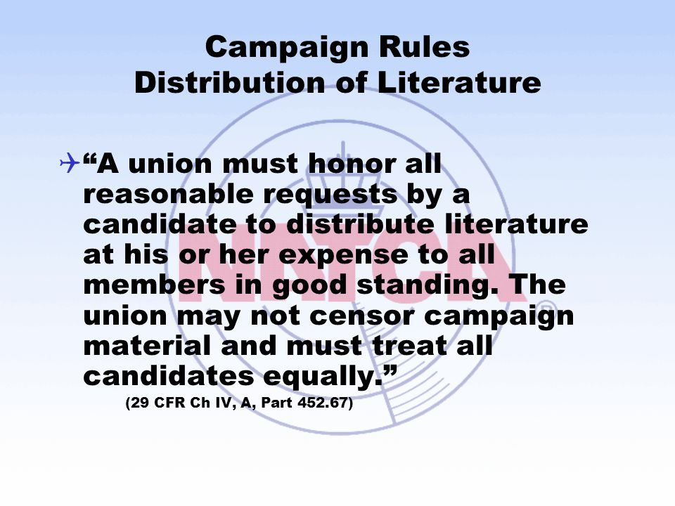 Campaign Rules Distribution of Literature