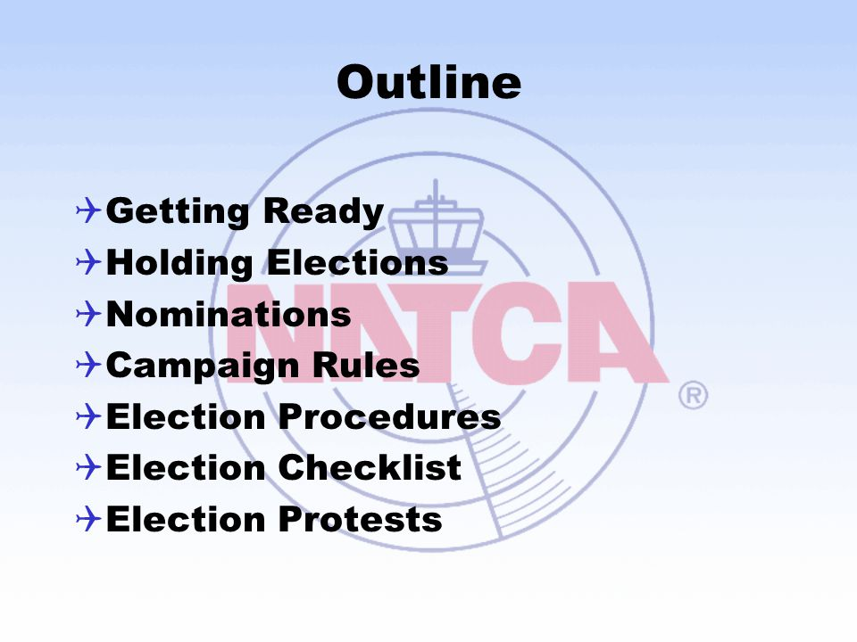 Outline Getting Ready Holding Elections Nominations Campaign Rules