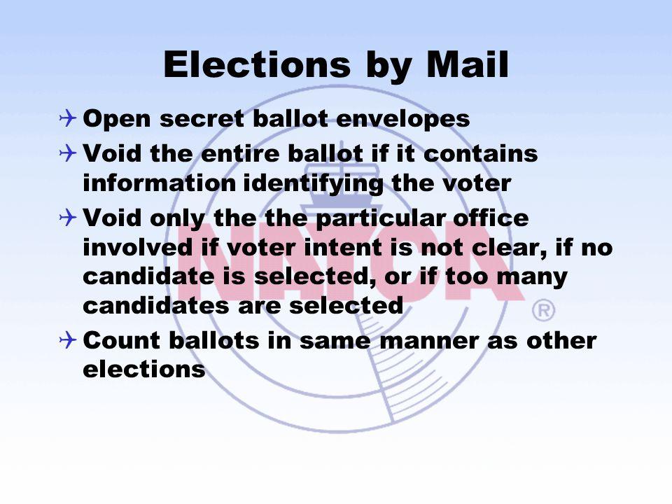 Elections by Mail Open secret ballot envelopes