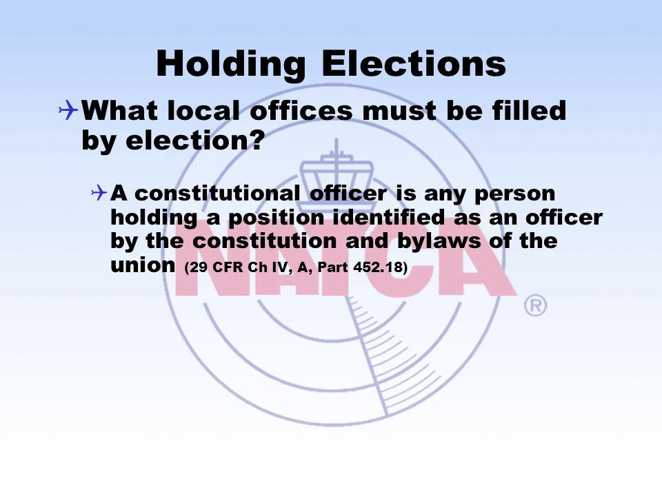 Holding Elections What local offices must be filled by election
