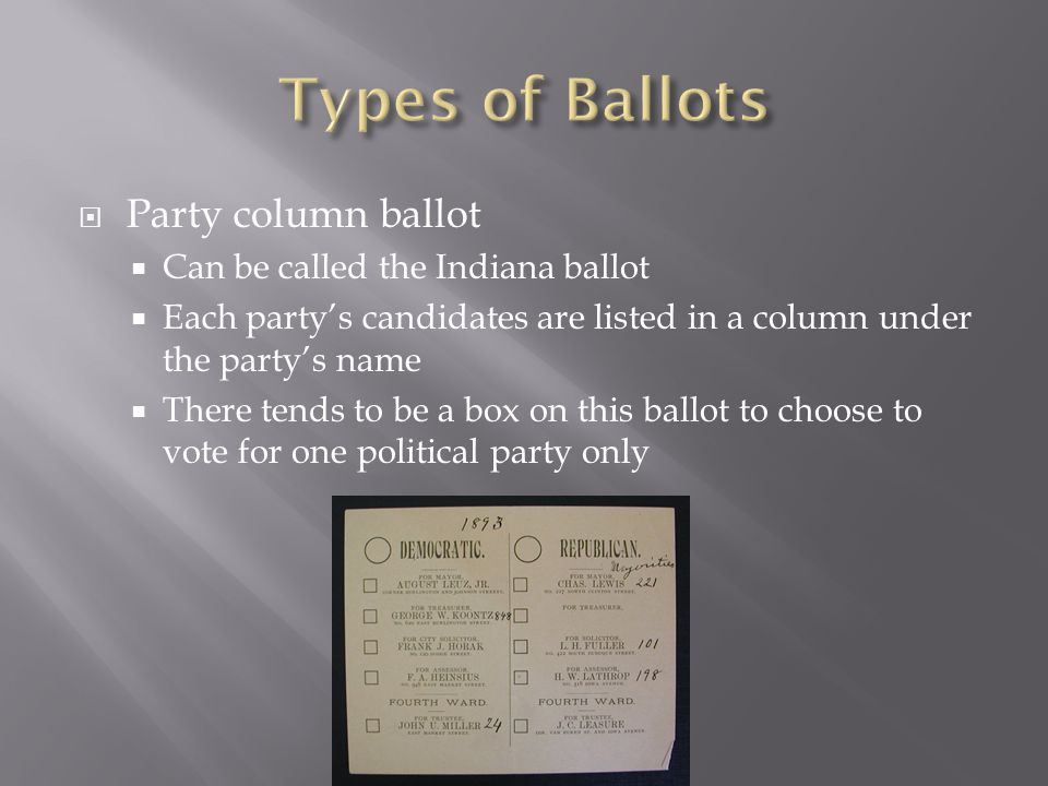 Types of Ballots Party column ballot Can be called the Indiana ballot