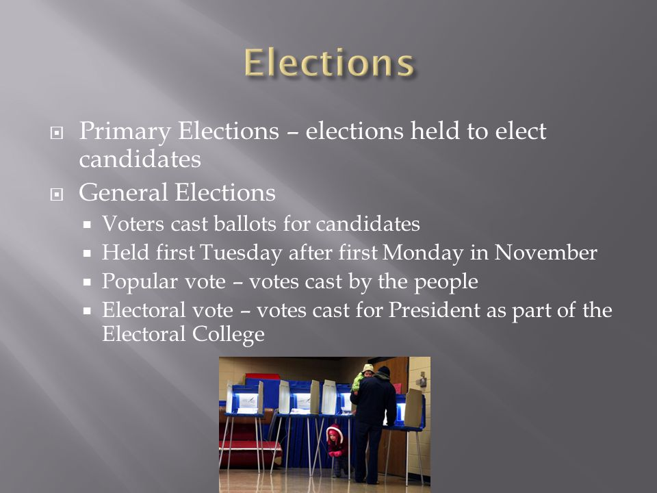 Elections Primary Elections – elections held to elect candidates