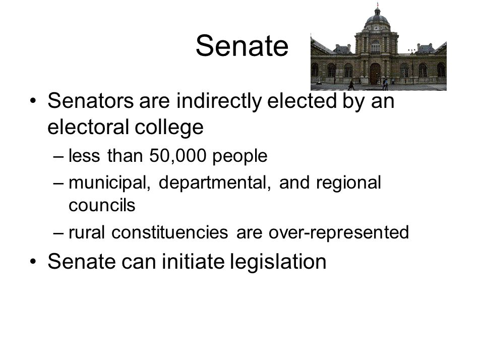Senate Senators are indirectly elected by an electoral college