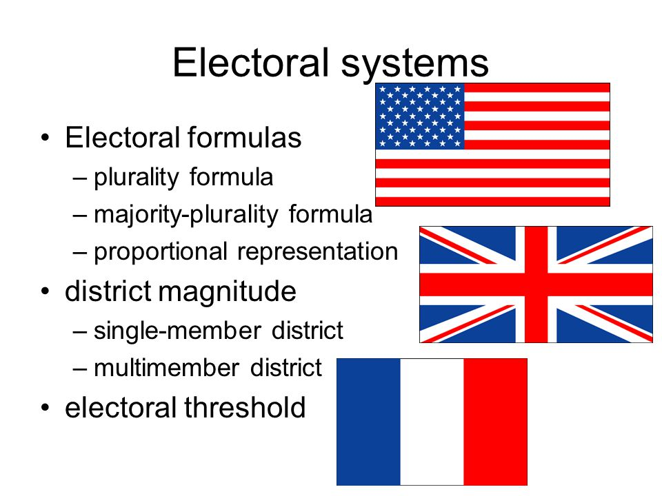 Electoral systems Electoral formulas district magnitude