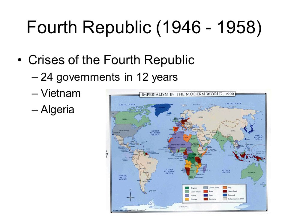Fourth Republic (1946 - 1958) Crises of the Fourth Republic