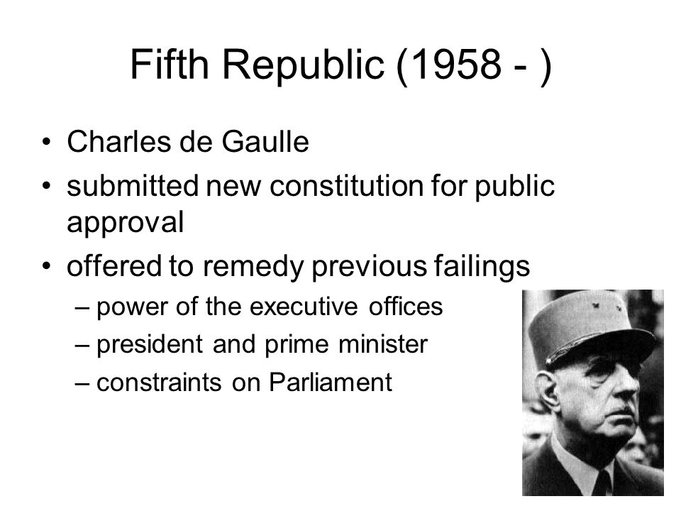 an analysis of the parliamentary system of the fifth republic of france The french parliament (french: parlement français) mandatory obligation to make those appointments from the ranks of the parliamentary majority party this is a safe-guard specifically introduced by the founder of the fifth republic.
