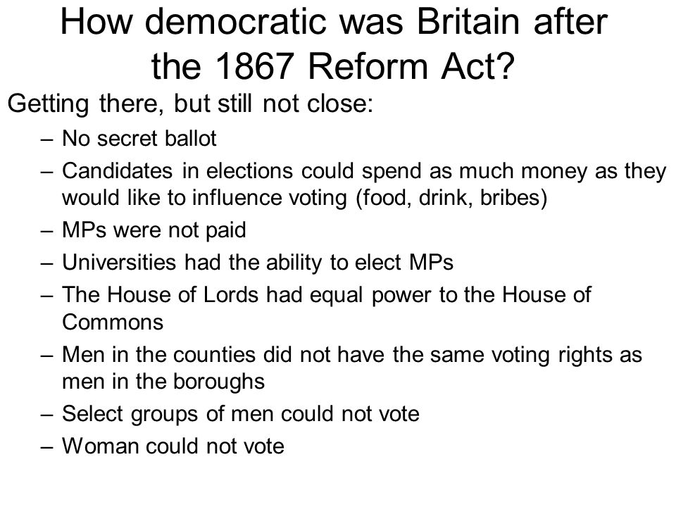 How democratic was Britain after the 1867 Reform Act