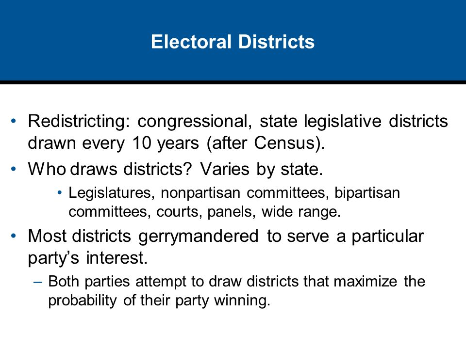 Electoral Districts Redistricting: congressional, state legislative districts drawn every 10 years (after Census).