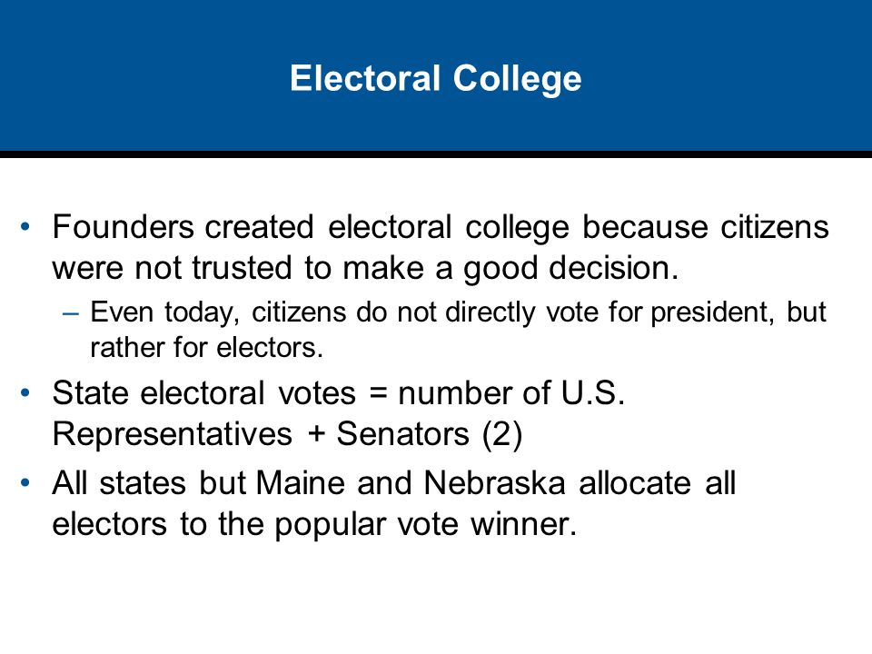 Electoral College Founders created electoral college because citizens were not trusted to make a good decision.