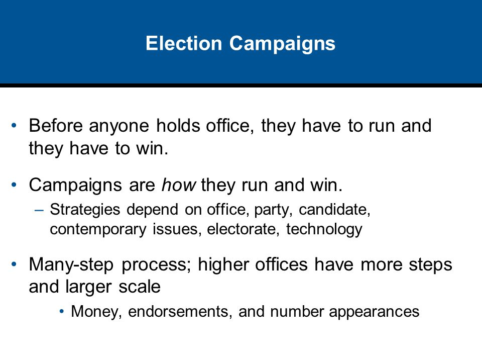 Election Campaigns Before anyone holds office, they have to run and they have to win. Campaigns are how they run and win.