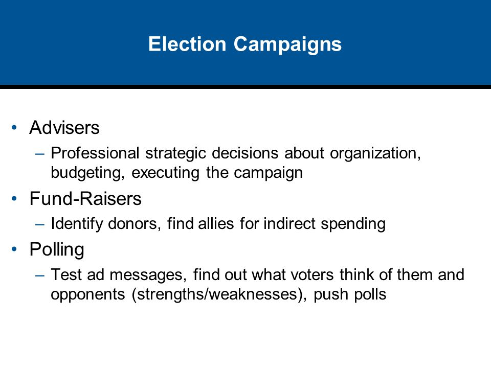 Election Campaigns Advisers Fund-Raisers Polling