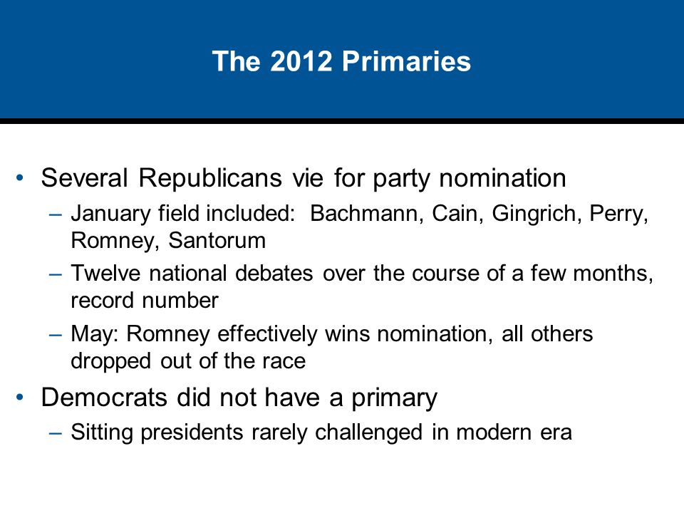 The 2012 Primaries Several Republicans vie for party nomination