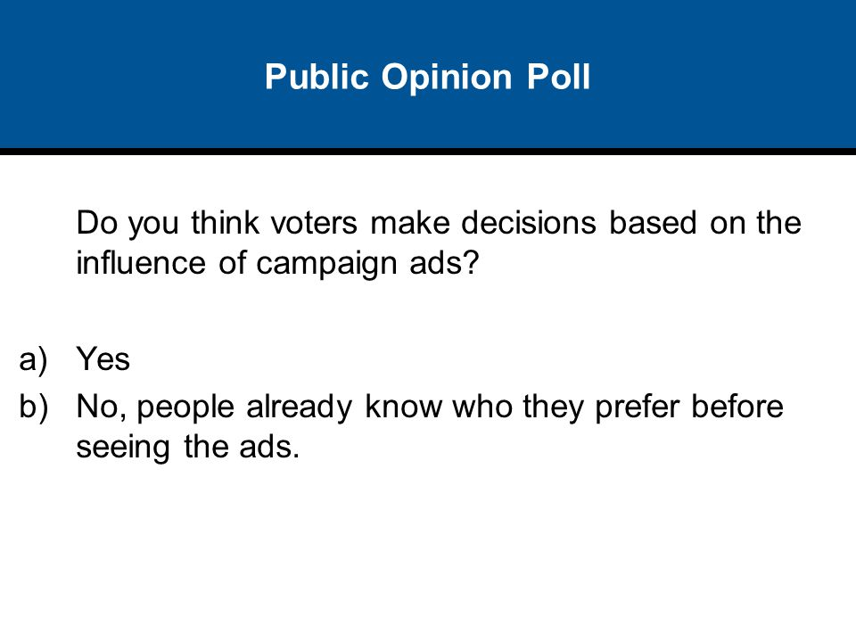 Public Opinion Poll Do you think voters make decisions based on the influence of campaign ads Yes.