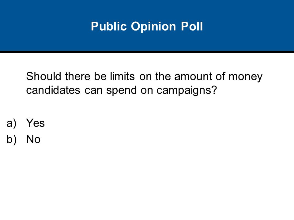 Public Opinion Poll Should there be limits on the amount of money candidates can spend on campaigns