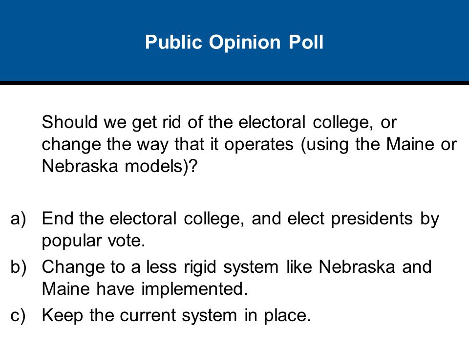 Public Opinion Poll Should we get rid of the electoral college, or change the way that it operates (using the Maine or Nebraska models)