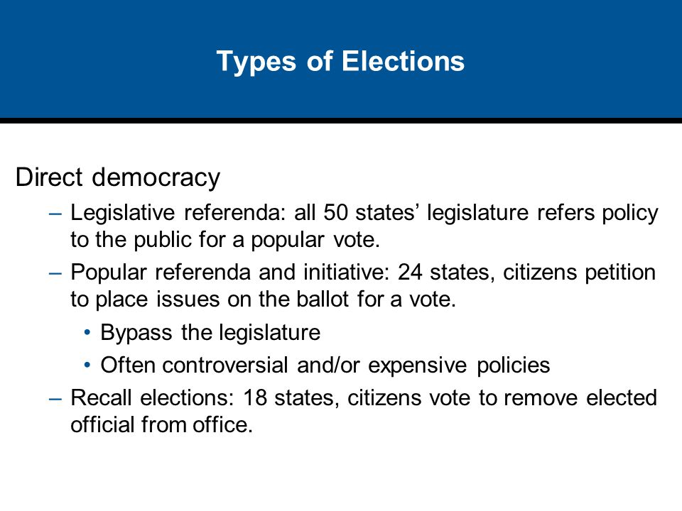 Types of Elections Direct democracy