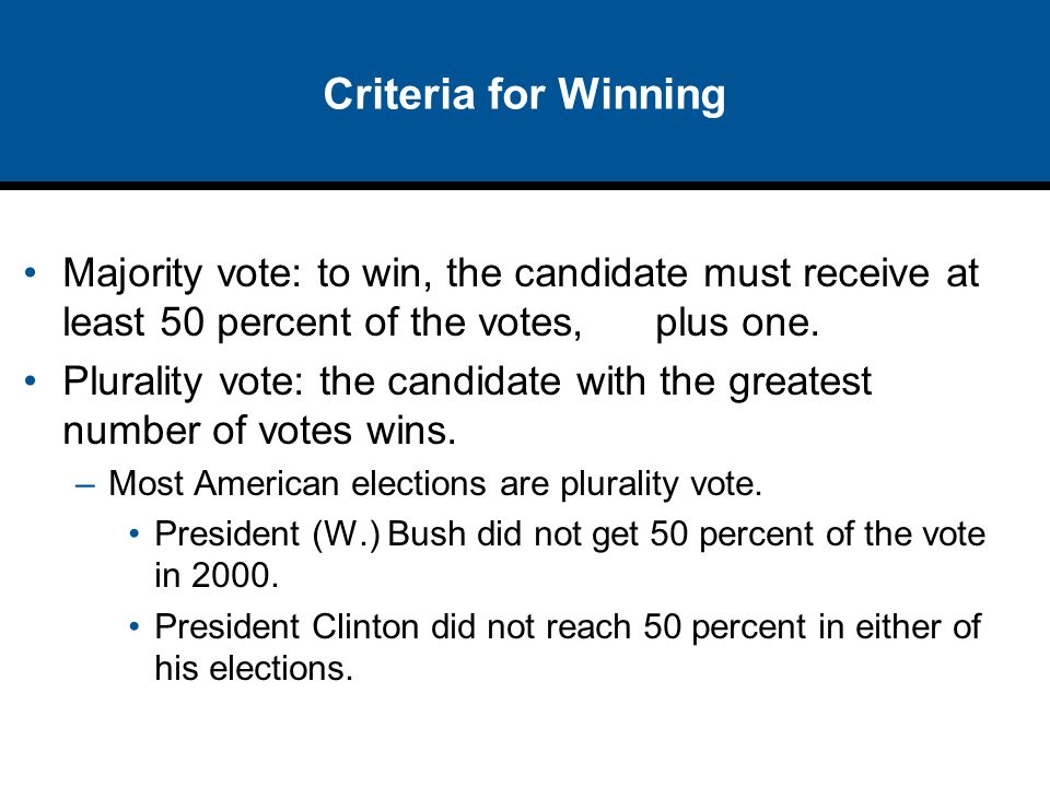 Criteria for Winning Majority vote: to win, the candidate must receive at least 50 percent of the votes, plus one.