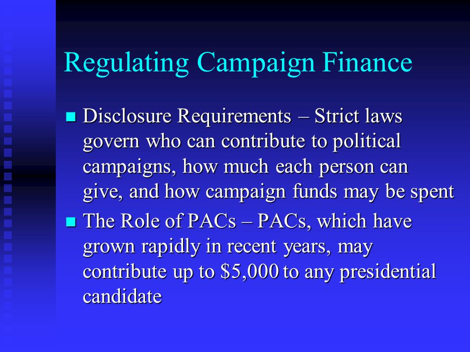 Regulating Campaign Finance