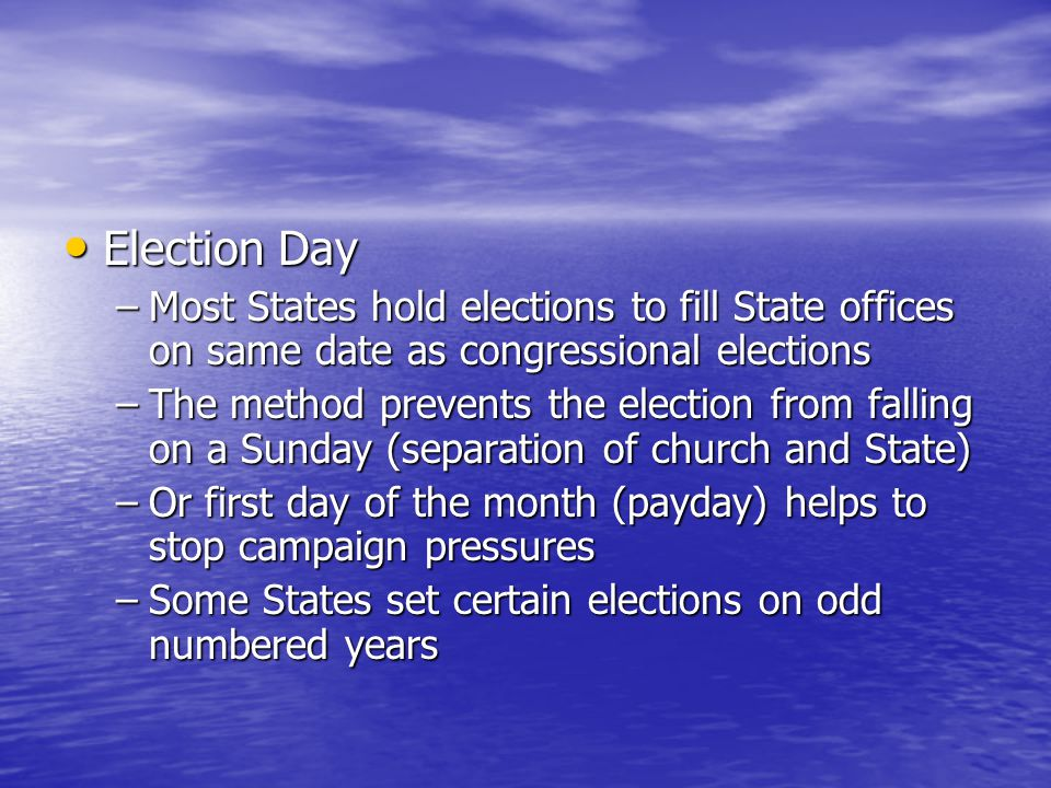 Election Day Most States hold elections to fill State offices on same date as congressional elections.