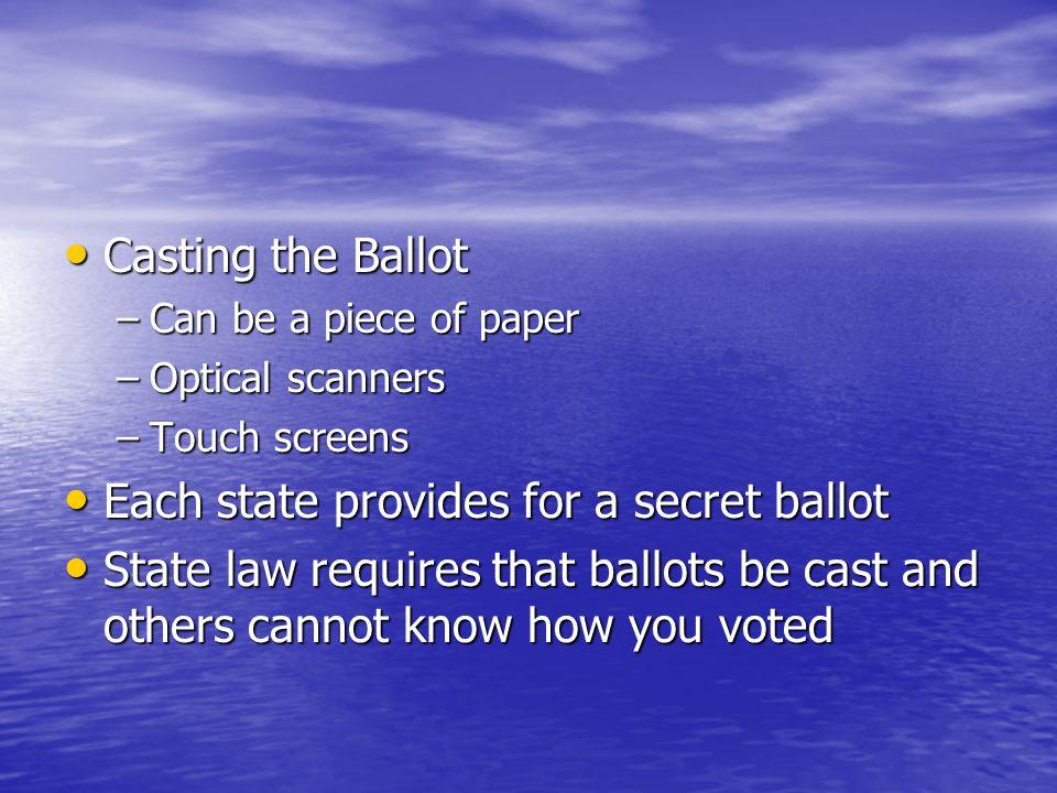 Each state provides for a secret ballot