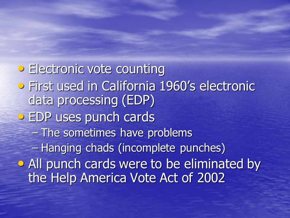 Electronic vote counting